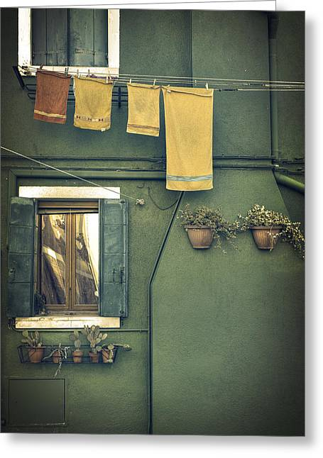 Blinds Greeting Cards - Burano - green house Greeting Card by Joana Kruse