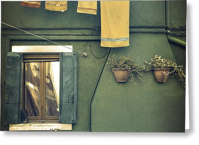 Burano - green house Greeting Card by Joana Kruse