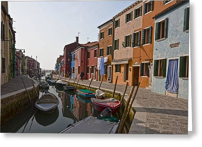 Peaceful Scene Photographs Greeting Cards - Burano - Venice - Italy Greeting Card by Joana Kruse