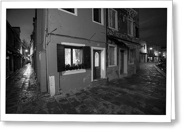 All Blacks Greeting Cards - Burano II - Italy - Black and White  Greeting Card by Marco Hietberg