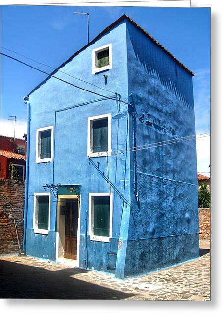 Gregory Dyer Greeting Cards - Burano Island - Strange Blue House Greeting Card by Gregory Dyer