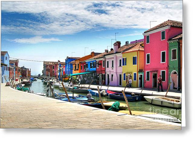 Gregory Dyer Greeting Cards - Burano Island Canal Greeting Card by Gregory Dyer