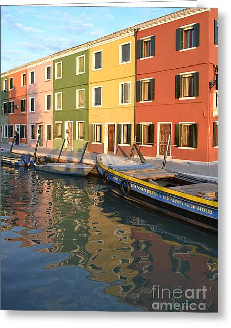 Green Boat Greeting Cards - Burano Italy 1 Greeting Card by Rebecca Margraf