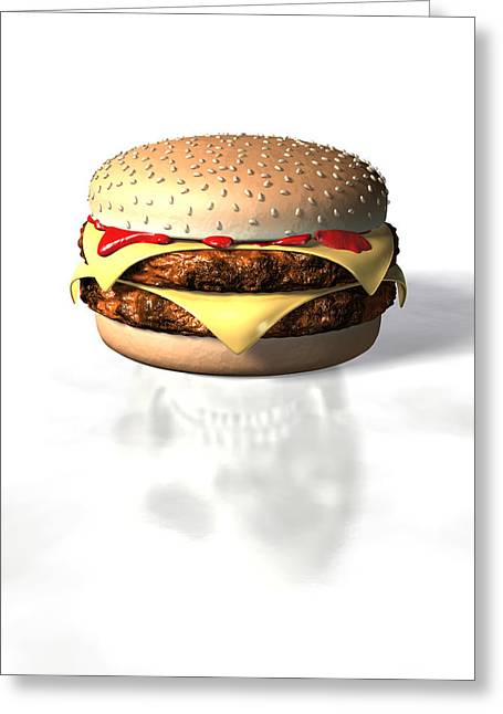Burger And Skull Greeting Card by David Mack
