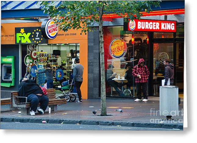Sardinelly Greeting Cards - Burger King on the Throne Greeting Card by Yurix Sardinelly