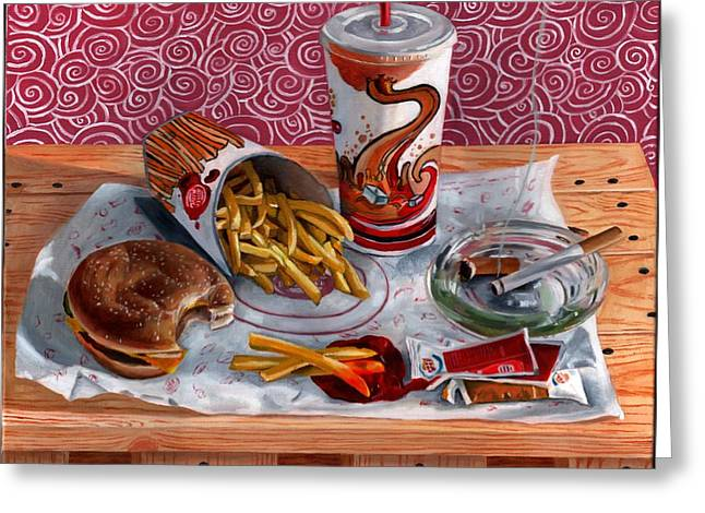 Cheeseburger Paintings Greeting Cards - Burger King Value Meal no. 3 Greeting Card by Thomas Weeks