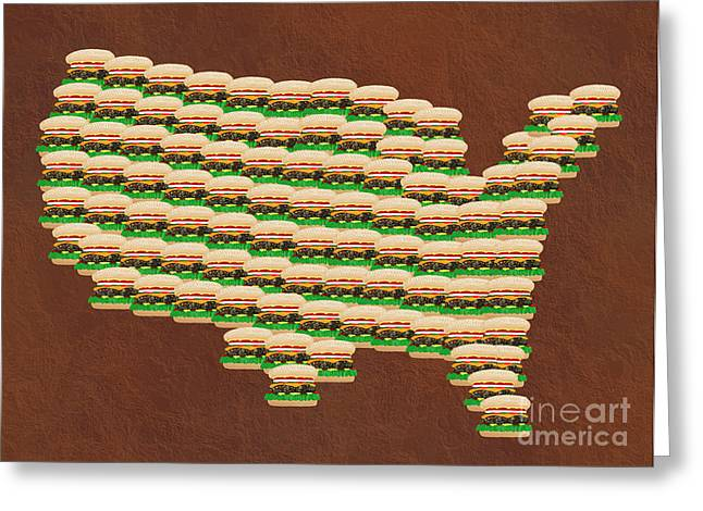 Cheese Burger Greeting Cards - Burger Town USA Map Brown Greeting Card by Andee Design