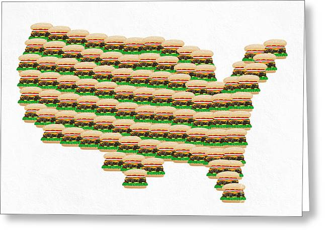 Cheese Burger Greeting Cards - Burger Town USA Map White Greeting Card by Andee Design