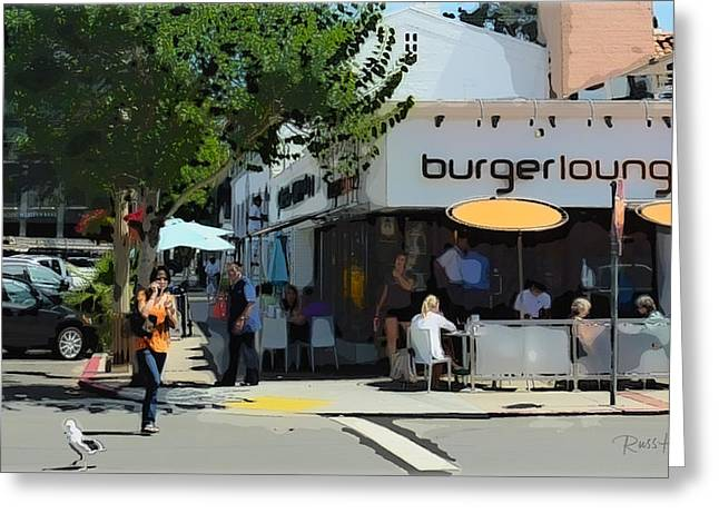 La Jolla Art Greeting Cards - BurgerLounge La Jolla Greeting Card by Russ Harris