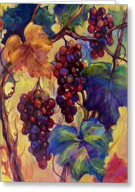 Blue Grapes Greeting Cards - Burgundy Grapes Greeting Card by Peggy Wilson