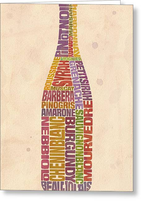 Red Wine Greeting Cards - Burgundy Wine Word Bottle Greeting Card by Mitch Frey