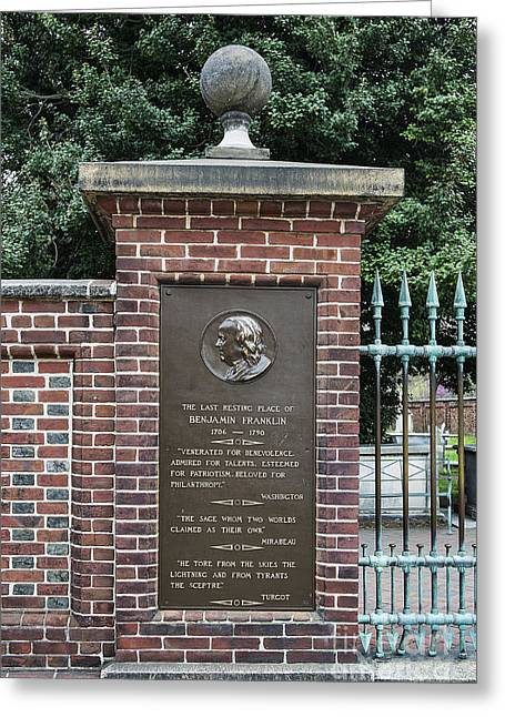 Philadelphia Tourist Site Greeting Cards - Burial site of Ben Franklin Greeting Card by John Greim