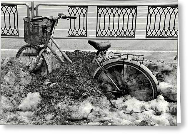 Hutong Greeting Cards - Buried in the Snow Greeting Card by Dean Harte