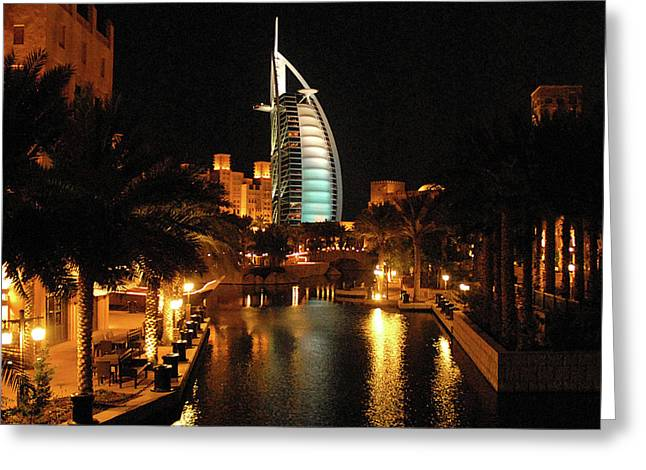 Mdf Mounted Print Greeting Cards - Burj Al Arab by Night Greeting Card by Graham Taylor