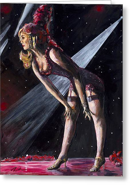 Burlesque Paintings Greeting Cards - Burlesque - Well Hello Boys Greeting Card by Steve Manton