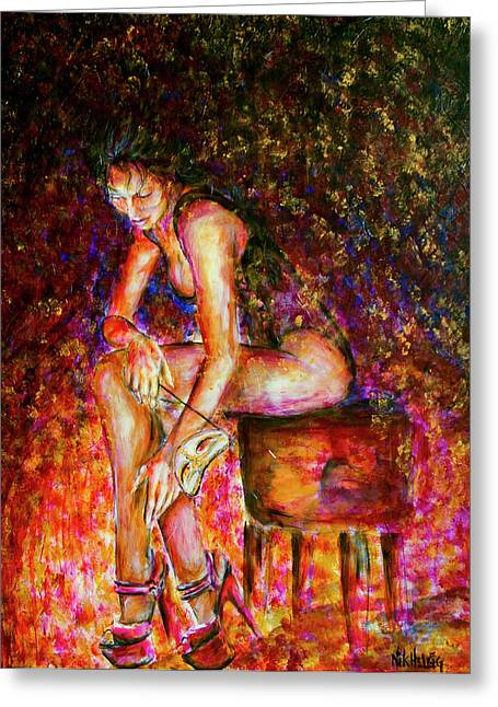 Burlesque Paintings Greeting Cards - Burlesque I Greeting Card by Nik Helbig