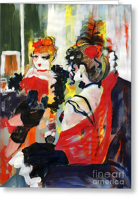 Saloons Greeting Cards - Burlesque Night Greeting Card by Joanne Claxton