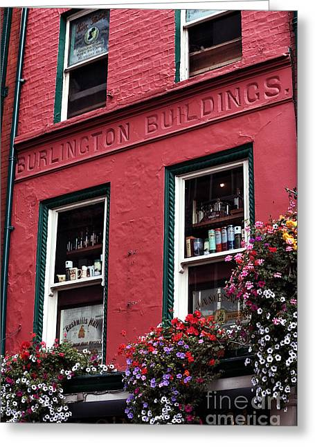Red Buildings Greeting Cards - Burlington Buildings Greeting Card by John Rizzuto
