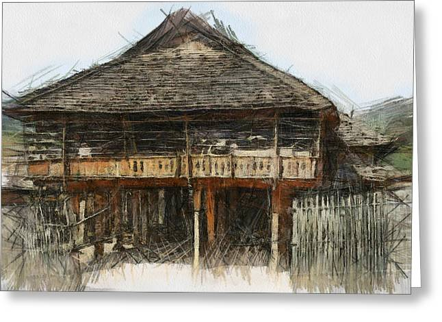 Bamboo Fence Digital Greeting Cards - Burmese village house 1 Greeting Card by Fran Woods