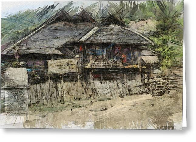Bamboo Fence Digital Greeting Cards - Burmese village house 2 Greeting Card by Fran Woods