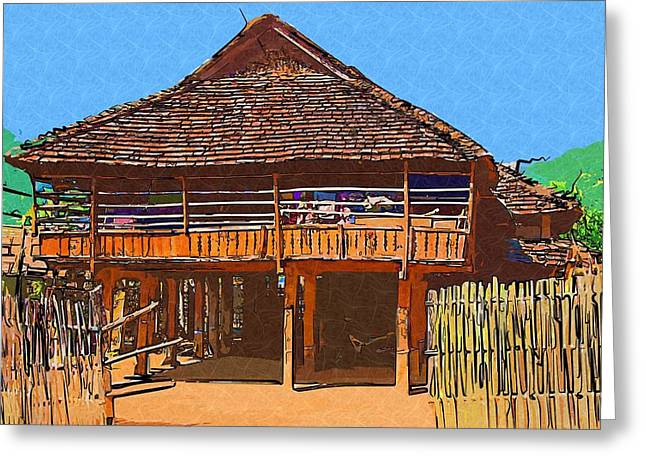 Burmese Village House Greeting Card by Fran Woods