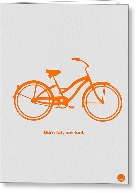 Biker Greeting Cards - Burn Fat not Fuel Greeting Card by Naxart Studio
