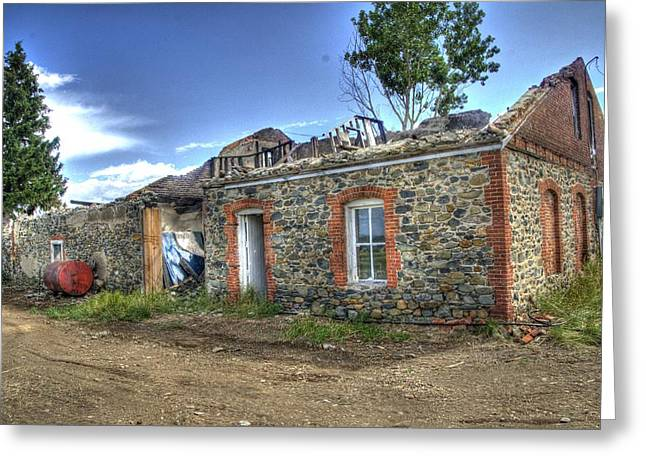 Stone House Greeting Cards - Burned house Greeting Card by Jon Berghoff