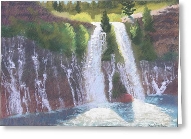 Cliffs Pastels Greeting Cards - Burney Falls Greeting Card by Reif Erickson