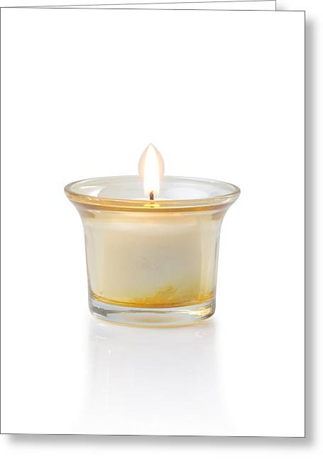 Votive Candles Greeting Cards - Burning Candle Greeting Card by Atiketta Sangasaeng