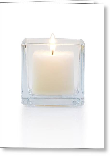 Votive Candles Greeting Cards - Burning Candle Front View  Greeting Card by Atiketta Sangasaeng