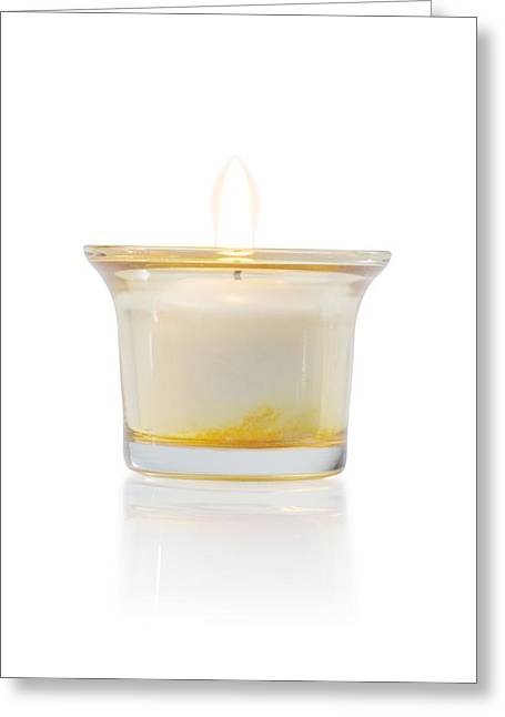 Healthy-lifestyle Greeting Cards - Burning Candle In Glass Holder Greeting Card by Atiketta Sangasaeng