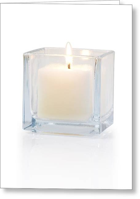 Wellbeing Photographs Greeting Cards - Burning Candle Side View 20 Degree Greeting Card by Atiketta Sangasaeng