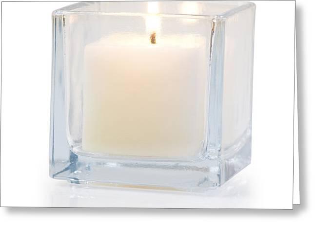 burning candle side view 20 degree Greeting Card by ATIKETTA SANGASAENG