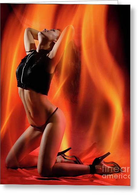 Allurement Greeting Cards - Burning in Flames Greeting Card by Oleksiy Maksymenko