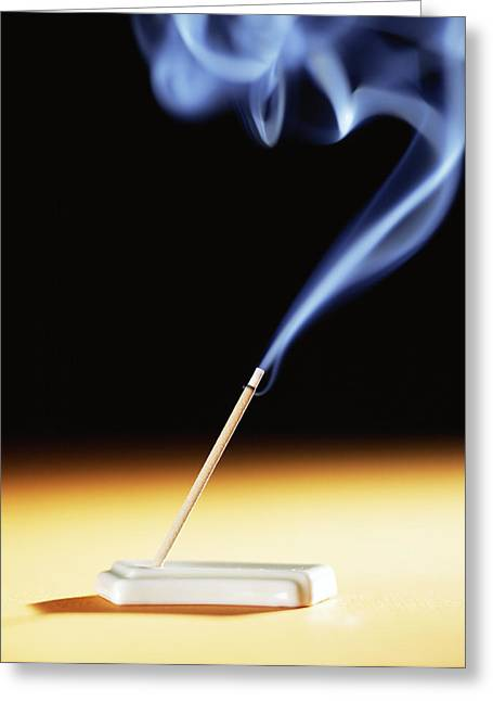Smoke Trail Greeting Cards - Burning Incense Greeting Card by Lawrence Lawry