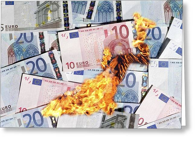 Out Of Control Greeting Cards - Burning Money, Conceptual Image Greeting Card by Victor De Schwanberg