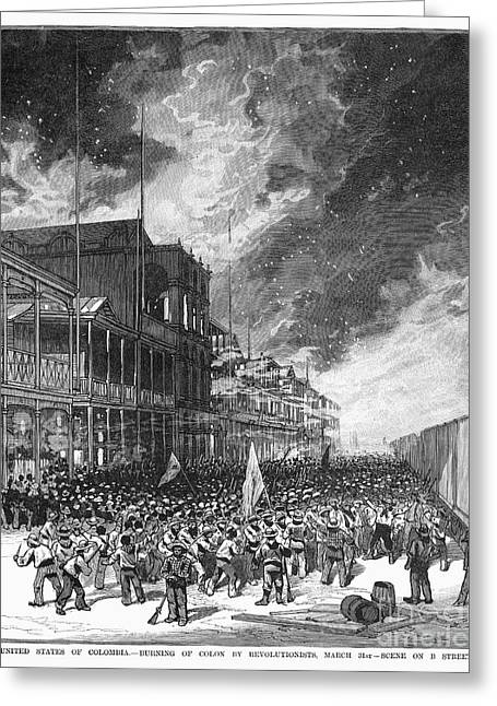 Burning Of Colon, 1885 Greeting Card by Granger