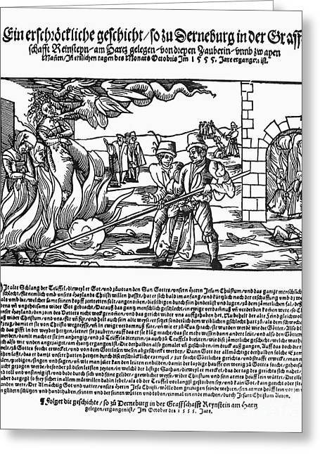 Discrimination Photographs Greeting Cards - Burning Of Witches, 1555 Greeting Card by Granger