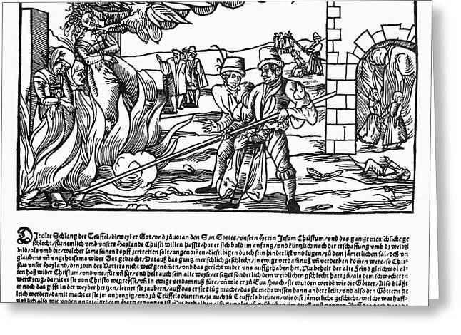 BURNING OF WITCHES, 1555 Greeting Card by Granger