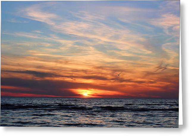 York Beach Greeting Cards - Burning Sky Greeting Card by Peter Chilelli