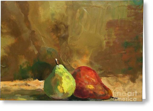 Orange Reliefs Greeting Cards - Burnished Pears Greeting Card by Ruth Stromswold