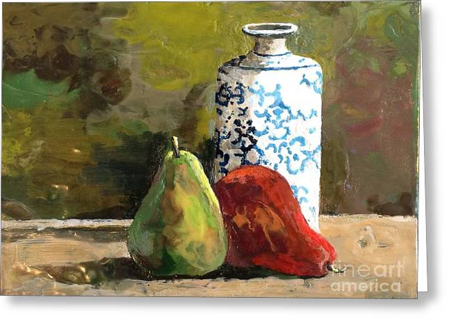 Food And Beverage Reliefs Greeting Cards - Burnished Pears with Vase Greeting Card by Ruth Stromswold