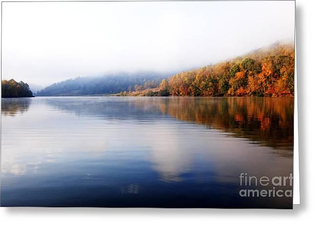 Fog Rising Greeting Cards - Burnsville Lake Morning Greeting Card by Thomas R Fletcher