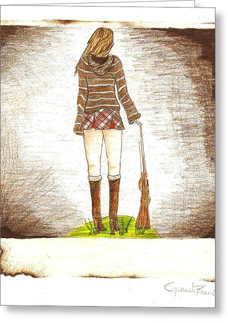 Hoodies Drawings Greeting Cards - Burnt From A Far Greeting Card by Syvanah  Bennett