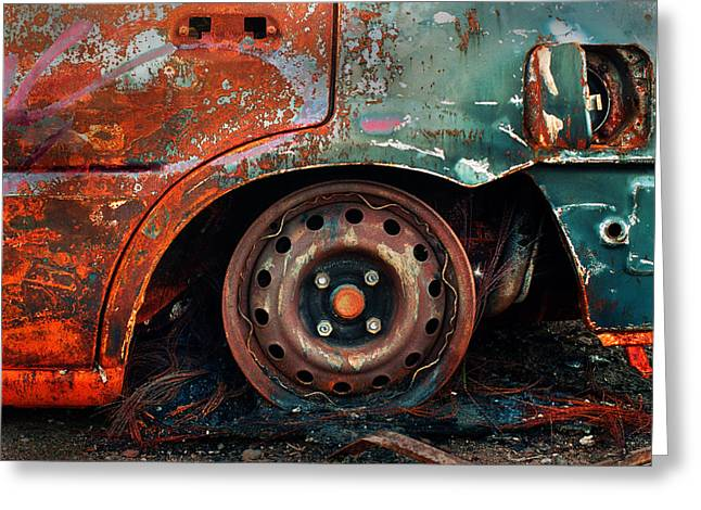 Rusted Cars Greeting Cards - Burnt Out Greeting Card by Tim Nichols