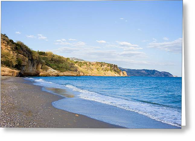 Costa Greeting Cards - Burriana Beach in Nerja Greeting Card by Artur Bogacki