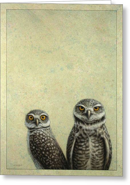 Light Drawings Greeting Cards - Burrowing Owls Greeting Card by James W Johnson