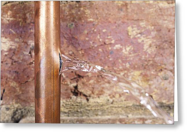 Flooding Photographs Greeting Cards - Burst Water Pipe Greeting Card by Andrew Lambert Photography