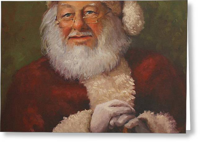 Burts Santa Greeting Card by Vicky Gooch