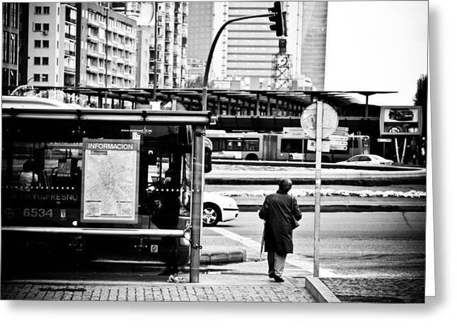 Bus Stop Greeting Cards - Bus stop Greeting Card by Felix M Cobos